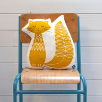 Hand Screen Printed Cat Pillow in Mustard Yellow