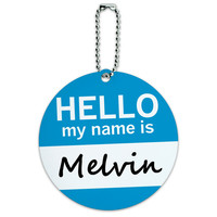 Melvin Hello My Name Is Round ID Card Luggage Tag