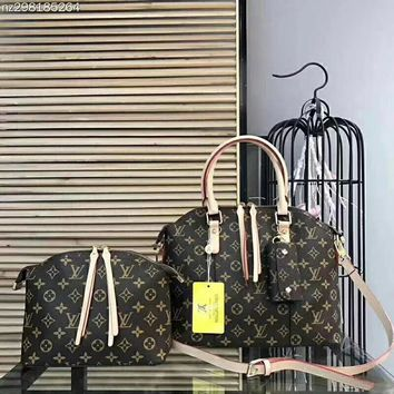 Louis Vuitton Women Fashion Leather Satchel Bag Shoulder Bag Crossbody 2 Piece Set