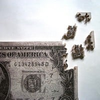 Hand Cut Wooden Jigsaw Puzzle Dollar bill Over 100 by puzzleguy