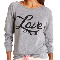 Love is Free Crochet Back Graphic Sweatshirt - Gray