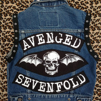 AVENGED SEVENFOLD - Upcycled Rock Band Vest - Little EvilRose - OOAK