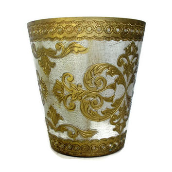 Vintage Florentine Gold Wastebasket Hollywood Regency Toleware