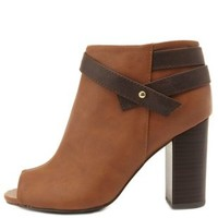 Camel Belted Chunky Heel Peep Toe Booties by Charlotte Russe
