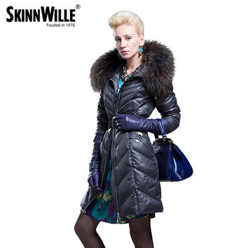 2016 fashion high quality large fur collar down coat female thickening women's medium-long winter