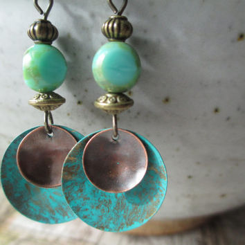 Czech Glass Earrings Patina Earrings Boho Earrings Turquoise Earrings Dangle Earrings Jewelry Small Earrings