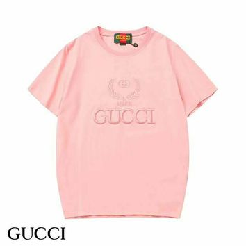 GUCCI 2019 early spring new embroidery logo round neck loose wild short-sleeved T-shirt Pink