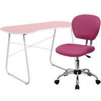 Pink Computer Desk and Mesh Chair