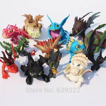 13pcs/lot 5-7cm How to Train Your Dragon 2 Night Fury Toothless Hiccup Dragon PVC Action Figures Christmas Gifts