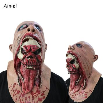 Terror Mask Cosplay Costume Halloween Zombie demon Terror Terrified Scary Latex Mask Carnival Party Cosplay Costume Men Women