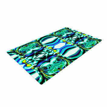 """Dawid Roc """"Inspired By Psychedelic Art 5"""" Blue Abstract Woven Area Rug"""