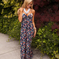 Navy Multi Colored Floral Maxi