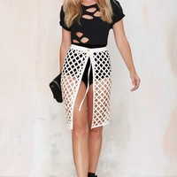 Beautiful Stranger Laser Cut Skirt - White