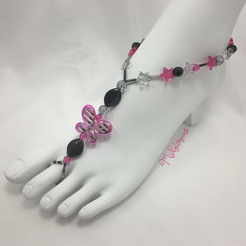 Barefoot Sandal, Foot Jewelry, Beach Sandal, Toe Thongs, Slave Anklet, Slave Jewelry, Beaded Anklet, Butterfly Jewelry, Yoga Sandal