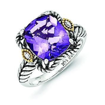 Sterling Silver w/14k Antiqued Amethyst and Diamond Ring