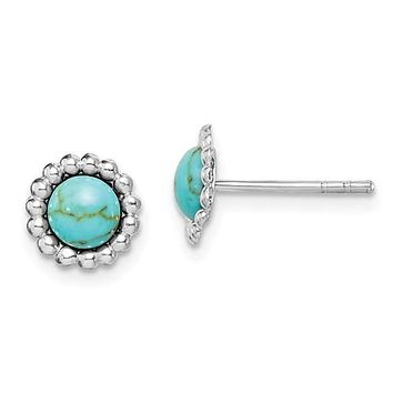 Sterling Silver Round Created Turquoise Beaded Post Earrings