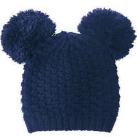 Mickey Mouse Double Pom Pom Beanie Hat - Blue