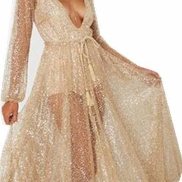 Sexy V-neck Bling Dresses Backless Beach Party Mesh See Through Long Sleeves Maxi Dress Women