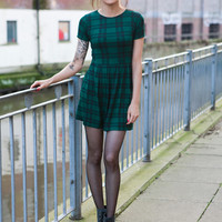 Green Tartan Skater Dress