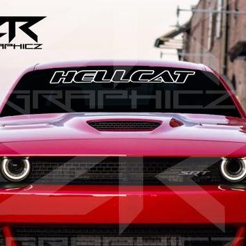 Dodge Challenger Outlined Hellcat Windshield Decal