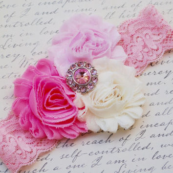Pink Baby Headband.Ivory and Pink Headband.Newborn Headband.Infant Headband.Baby Girl Headband.Photo Prop.Lace Headband.Ivory Headband.Bow