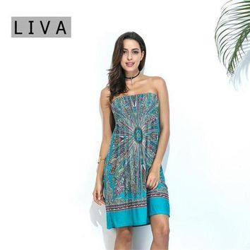 Beach Tunic 2017 Summer Style Boho Women Cover Up Sexy Sundresses Ethnic Printed Tunic Beach Dresses Strapless Swimsuit Cove Up