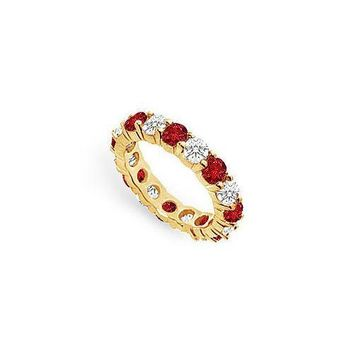 Diamond and Ruby Eternity Band : 14K Yellow Gold – 3.00 CT TGW