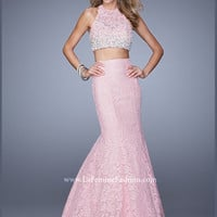 Two Piece Halter Lace Mermaid La Femme Prom Dress 21087