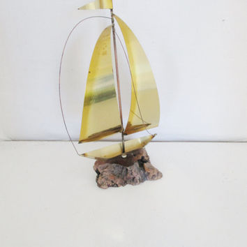 Vintage Brass Boat Vintage Brass Sailboat Nautical Mid Century Modern Sailboat Beach House Vintage Coastal Decor Sailboat on Driftwood