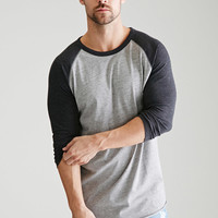 Heathered Colorblock Baseball Tee