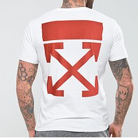 Off White New fashion bust pattern and back cross arrow print top t-shirt White