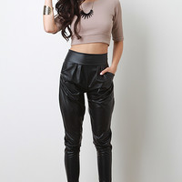 Solid Leatherette Pants