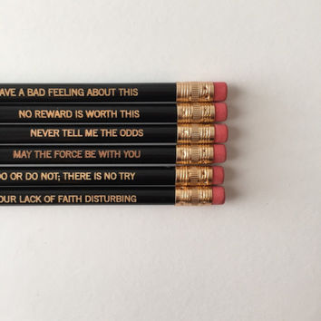 Star wars engraved pencil set of 6 in black. I find your lack of faith disturbing. Stocking stuffers.