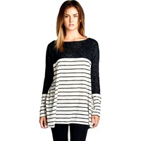 Long Sleeve Striped Tunic, Oatmeal (Size S)