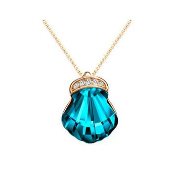 Shell shape blue pink crystal necklace