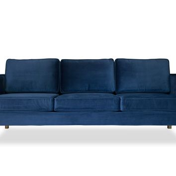 Lexington Mid-Century Modern Velvet Sofa, Blue Velvet