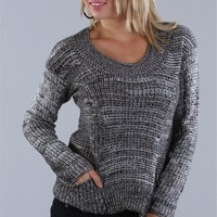 Sale-Black Marled Cropped Sweater