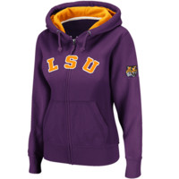 LSU Tigers Women's Classic Arch Full Zip Hooded Sweatshirt – Purple