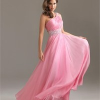 One Shouler Beaded On Shoulder And Empire Wasitline Ruched Bodice Chiffon Prom Dress PD10777 Online Sale
