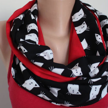 Cat Scarf, Cat Print Scarf, Red Black White Scarf, Gift for CAT Lover, Cat Loop Scarf, Cat Patterned Scarf, Cute Cats, cats, kitty, Cat lady