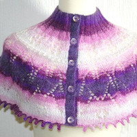 Hand knitted women's purple haze capelet / shawl / neckwarmer.
