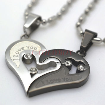 Silver Tone Black Men Women His Her Couples Heart Charm Pendant Necklace W/ Sausage Chain 50cm (With Thanksgiving&Christmas Gift Box)= 1929579076