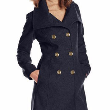 Notched Collar Double-Breasted Long Woolen Coat