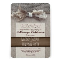 Rustic Vintage Printed Burlap Wedding Invites