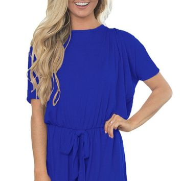 Blue Dolman Short Sleeve Womens Short Romper