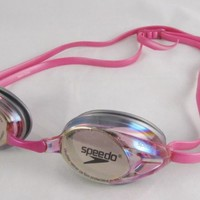 Speedo Women's Vanquisher Mirrored Swimming Goggles Paraormic Anti-Fog Lens Pink