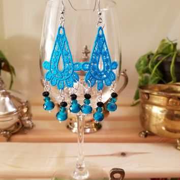 Turq Glass Bead Earrings