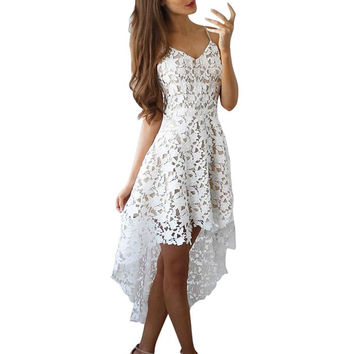 Sexy Backless 2017 Lace Dress Women Floral Hollow Out  V-Neck Cocktail Formal Swing Irregular Dress Casual White vestidos