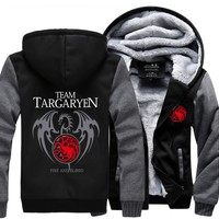 2017 Winter Thick Warm Hooded Men Game of Thrones Targaryen Fire & Blood Dragon Men Sweatshirt High Quality Plus Size Hoodies