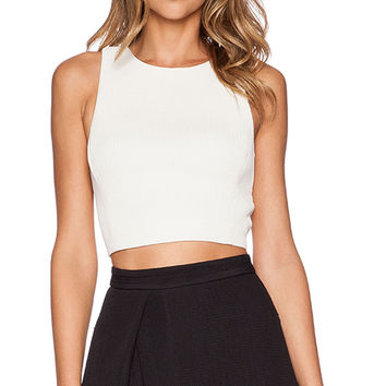 Tibi Mika Quilted Cropped Top in White